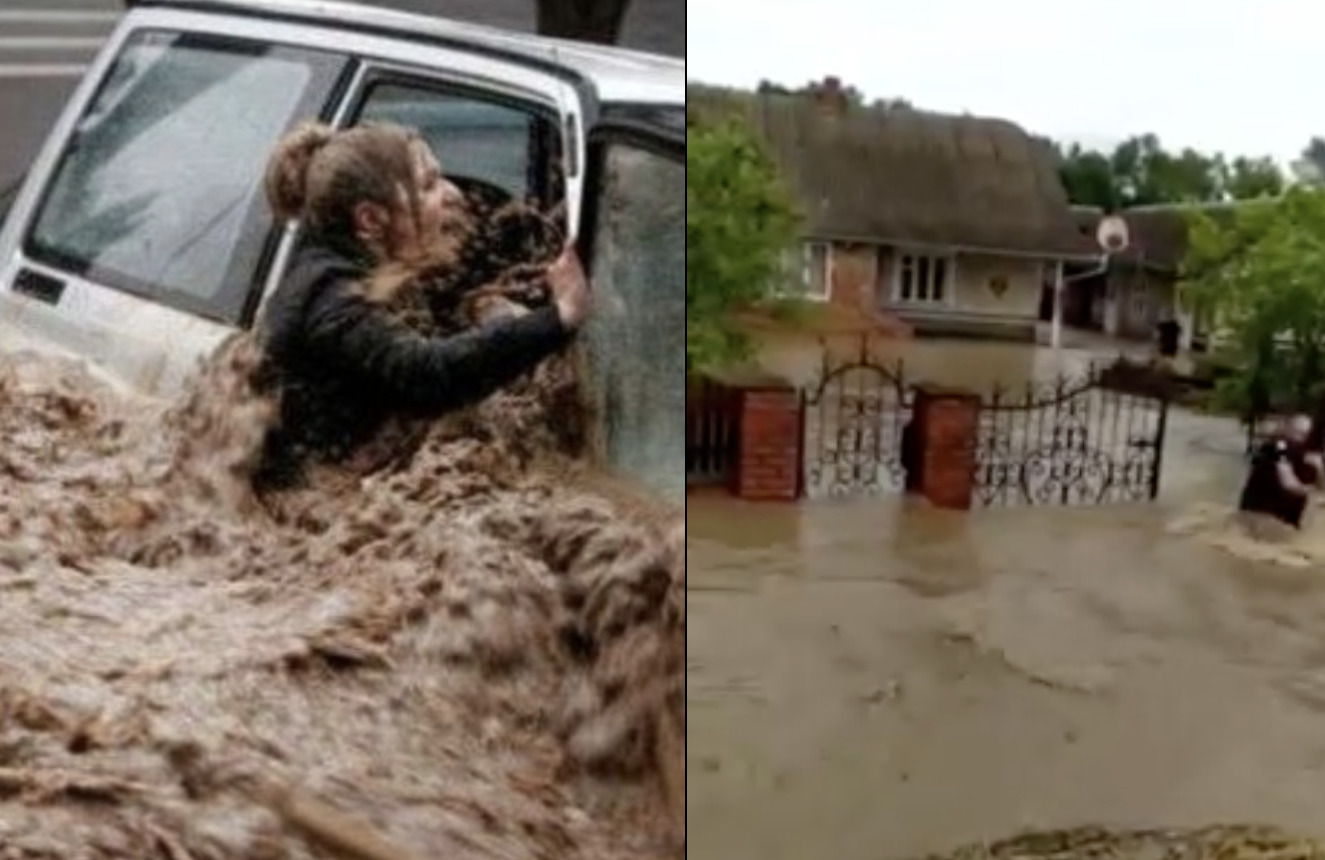 Ці шоkуючі кадри повені в Україні облетіли світ: Поліція рятує всіх селян і тварин, яких змиває ріка (Відео)